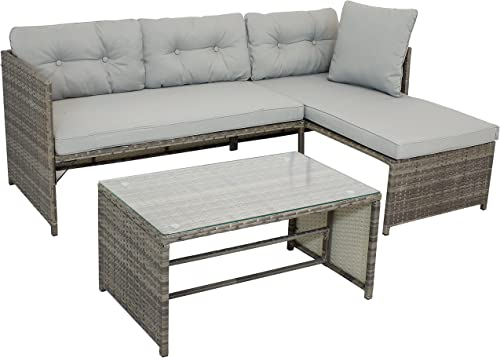 popular Sunnydaze wholesale Longford Outdoor Patio Sectional Sofa Set - Backyard Resin Rattan Chaise Lounge Furniture with Coffee Table and lowest Thick Cushions - Conversation Set - Stone Gray Cushions outlet sale