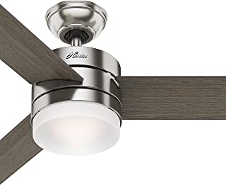 Hunter 54in Contemporary Ceiling Fan with Remote Control in Brushed Nickel (Renewed)