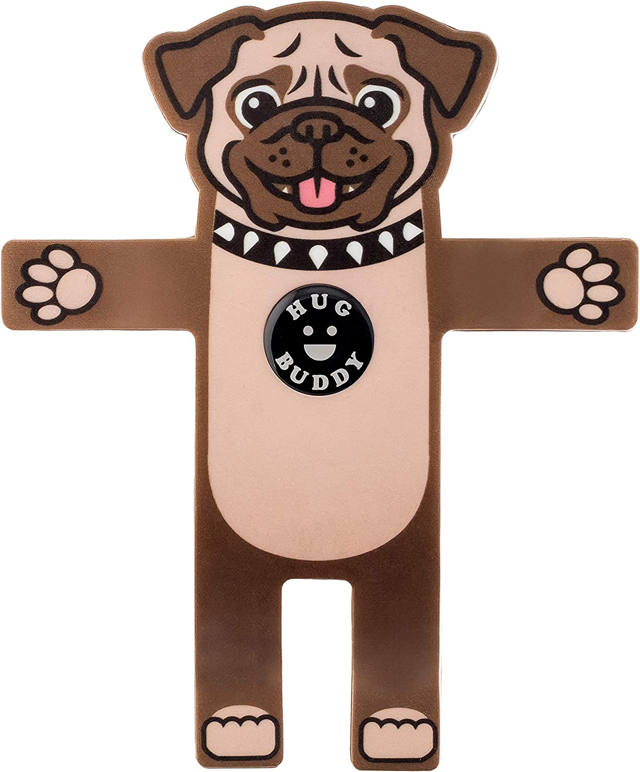 Pug Dog Hug Buddy Air Vent Car Phone Holder, Adjustable, Universal Fit, Cell Phone Mount Compatible with iPhone, Samsung Galaxy, LG, Google, Pixel, Moto, Black and Other Smartphones