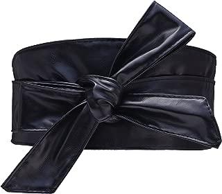 Woman Leatherette Wide Waistband Obi Belt Cityelf Faux Leather Wrap Around Lace Up Cinch Band Wide Self Tie Cummerbund