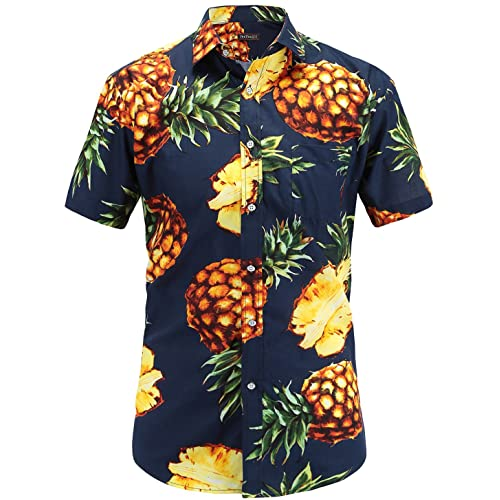 ee5494e26 JEETOO Men's Pineapple Shirts Hawaiian Style Short Sleeve Summer Casual