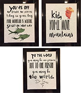 Set of 3 Dr. Seuss Inspirational Quotes Children's Prints Artwork Picture Poster Home Office Bedroom Nursery Kitchen Wall Decor - unframed