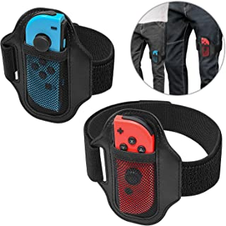 [2 Pack] Leg Strap for Nintendo Switch Ring Fit Adventure, Joy-Cons Controller Game Accessories, Adjustable Elastic Strap ...