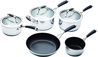 MasterClass Five Piece Deluxe Non-Stick Stainless Steel Cookware Set, Gift Boxed