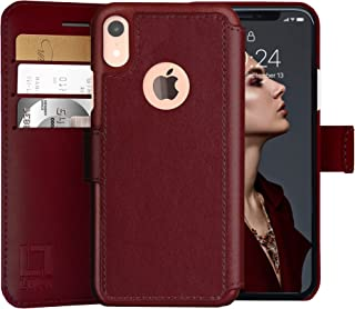 LUPA iPhone XR Wallet case, Durable and Slim, Lightweight with Classic Design & Ultra-Strong Magnetic Closure, Faux Leather, Burgundy, for Apple XR.