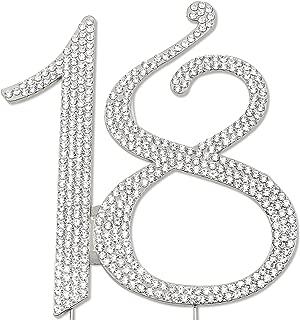 Sparkly Rhinestones Number 18 Cake Topper, Birthday Wedding Anniversary Silver Number 18