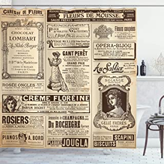 Ambesonne Paris Shower Curtain, Vintage Old Historic Newspaper Journal French Paper Lettering Art Design, Cloth Fabric Bathroom Decor Set with Hooks, 84