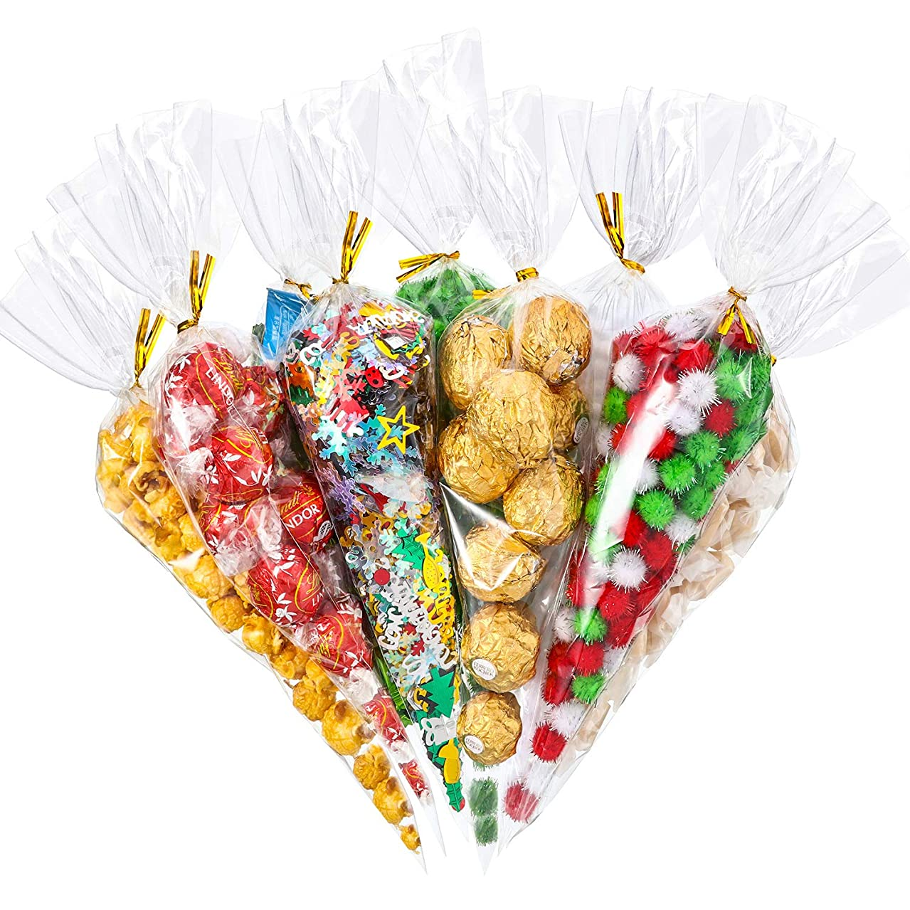 Tatuo 100 Counts Christmas Patterned Cone Cellophane Bags Treat Candy Bags with 100 Pieces Gold Twist Ties for Christmas Party Favor (Color E)