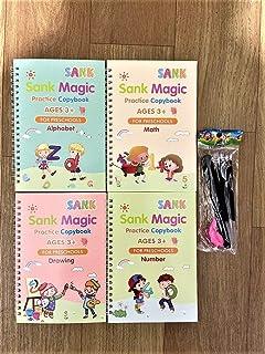 English Version Magic Books, Reusable 3D Calligraphy Copybooks, English Number Lettering Magic Practice Copybooks, 4 Book...