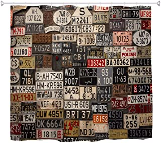 A.Monamour Old Vintage Car License Plates On The Wall Background Abstract Art Print Waterproof Fabric Shower Curtain Set with Hooks for Bathroom, Non Plastic Peva 180x200 cm / 72