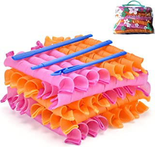 40pcs Hair Roller Curlers with Styling Hooks, Spiral Perm Rod DIY Styling Tool, No Heat Curls 55cm Hair Rollers Spiral Cur...
