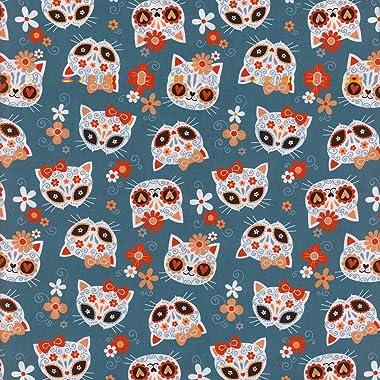 "Mook Fabrics, LLC Cotton 100% 45"" Sugar Skull Cats, Teal, 15 Yard Bolt"