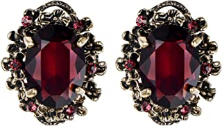 Women's Victorian Style Crystal Floral Scroll Cameo Inspired Oval Stud Earrings