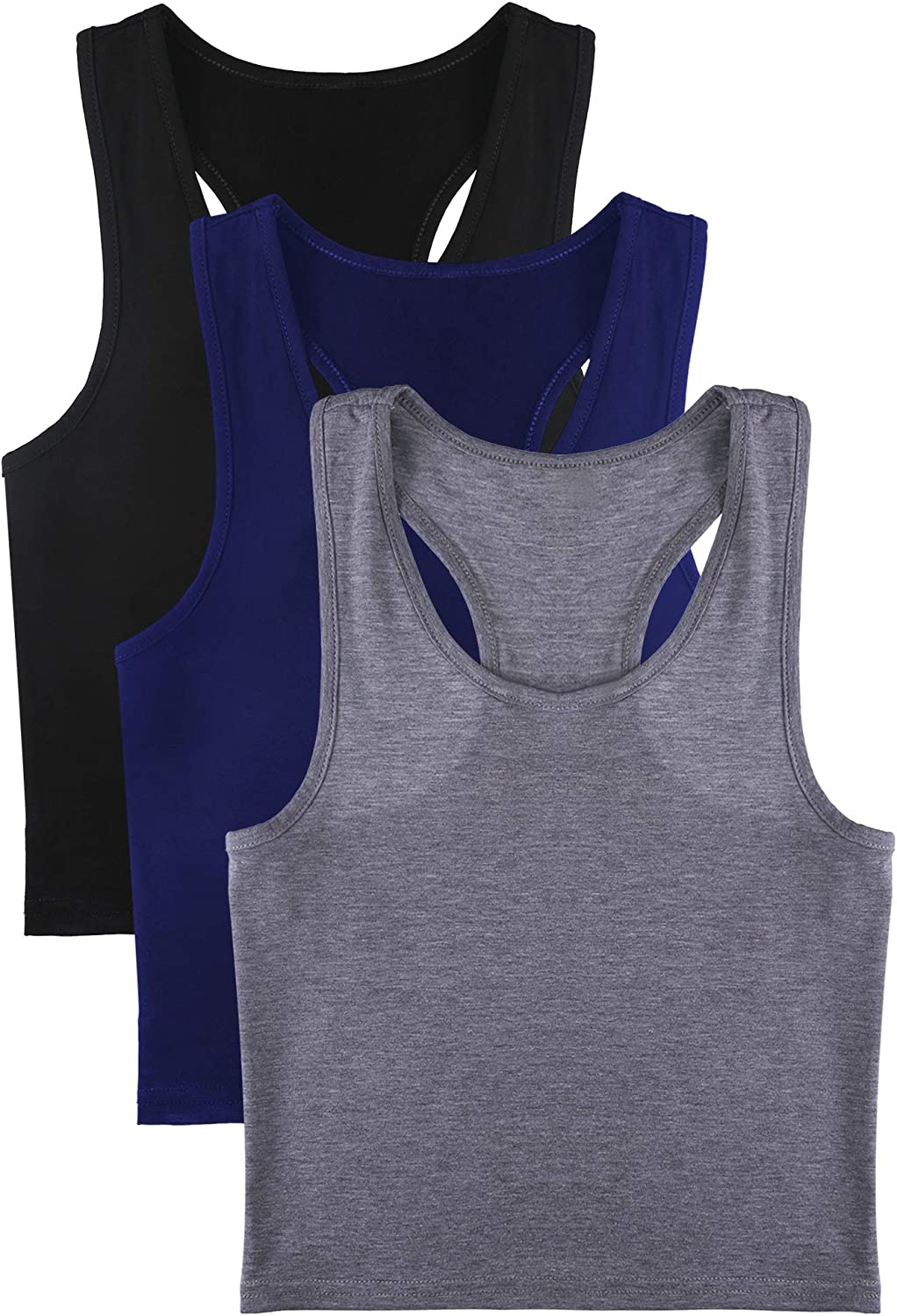 Boao 3 Pieces Womens Cotton Basic Sleeveless Racerback Crop Tank Top Sports Crop Top for Daily Wearing