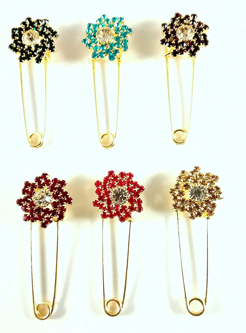 Sarvam Decorative Safety Pins Saree Pins Hijab Pins Brooch Set of 6