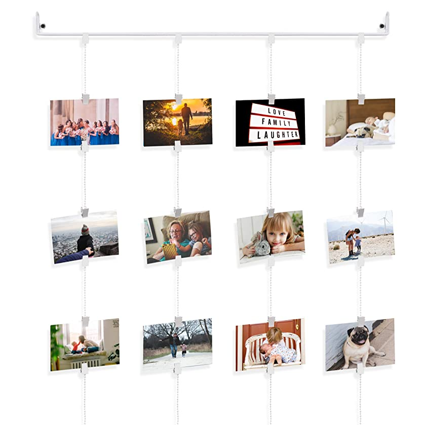 Hanging Rail Kids Arts Projects Crafts Display Photo Organizer with Clips and Chains Cream