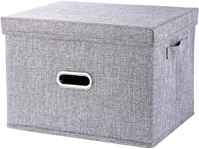 "Storage Cube with Lid, Fabric Basket Bin with Dual Handles, Decorative Linen Storage Container Clothes Basket for Closet, Shelves, 15"" x 11"" x 10.2"", Grey"