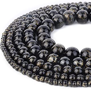 RUBYCA 300pcs Mixed Sizes Loose Glass Beads for Jewelry Making, Opaque Black, Gold Paint Splatter