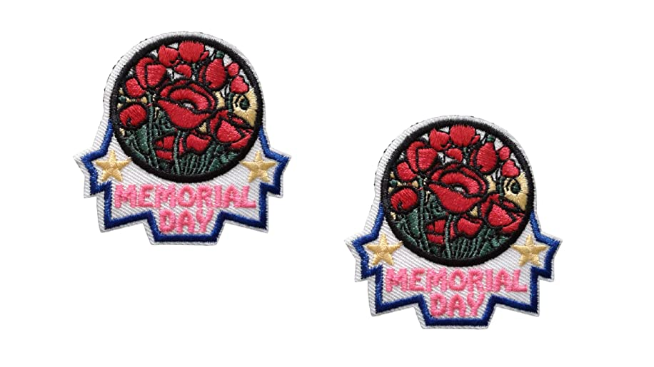 2 pieces MEMORIAL DAY Iron On Patch Applique Honor Remembrance Memory Motif Symbol Decal 2.1 x 2.1 inches (5.3 x 5.3 cm)