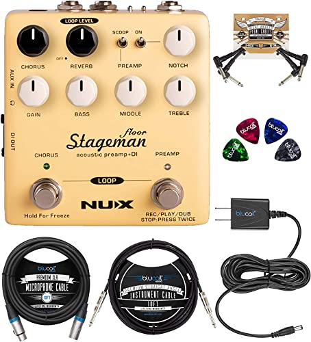 2021 NUX Stageman Floor wholesale Acoustic Preamp Effects Pedal Bundle with online sale Blucoil 9V AC Adapter, 10-FT Straight Instrument Cable (1/4in), 10-FT Balanced XLR Cable, 2x Patch Cables, and 4x Guitar Picks online sale