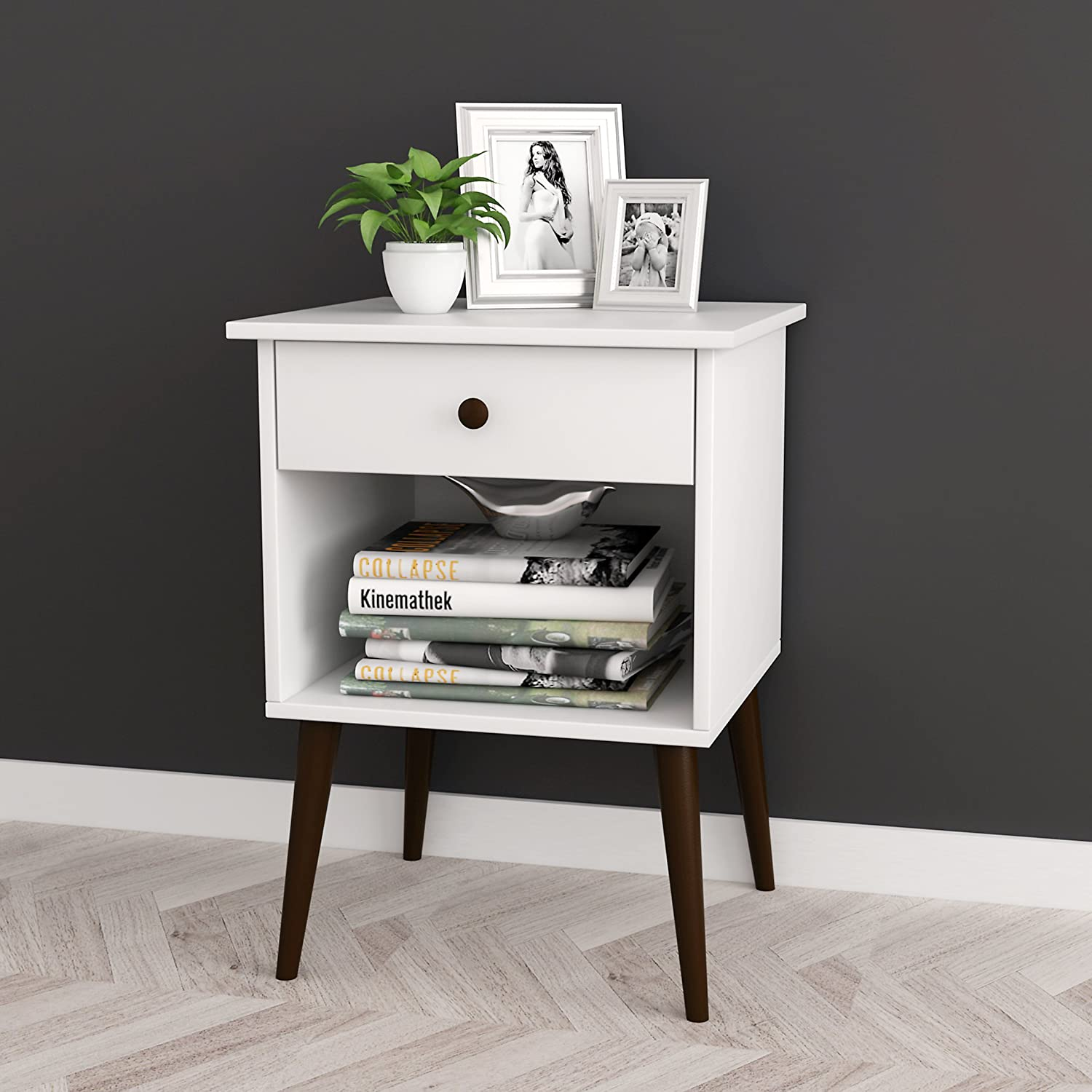 White   Espresso Nightstand Side End Table Open Storage with Drawer 24 H