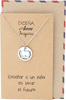 Quan Jewelry Best Gifts for Teachers in Spanish Apple Jewelry Enseña AMA Inspira Engraving on Pendant, Latin Engraved Necklace and Greeting Card