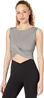 Core 10 Women's Plus Size Pima Cotton Blend Knot Front Cropped Yoga Tank, Light Heather Grey Plus, 2X