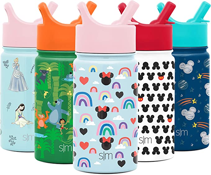 Simple Modern 14oz Disney Summit Kids Water Bottle Thermos with Straw Lid - Dishwasher Safe Vacuum Insulated Double Wall Tumbler Travel Cup 18/8 Stainless Steel - Disney: Minnie Rainbows