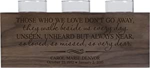 "LifeSong Milestones Personalized Those We Love Don't Go Away Memorial Sympathy Funeral Candle Holder Custom Engraved Walnut Wood Keepsake Ideas for Loved One 10"" L x 4"" H (Those We Love)"
