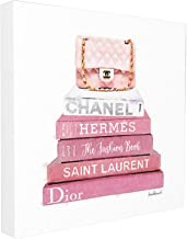 The Stupell Home Decor Collection Pink Book Stack Fashion Stretched Canvas Wall Art, 24 x 24, Multicolor