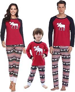 8ff43f136251c Aibrou Hommes Ensemble de Pyjamas Noël Famille Femmes Cerf Hauts et  Pantalons Longs vêtements de Nuit