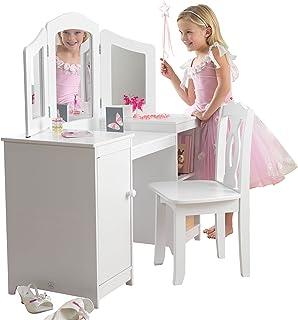 KidKraft 13018 Coiffeuse en bois Deluxe incluant chaise et miroir, chambre enfant, meuble
