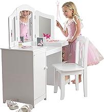 KidKraft Deluxe toalettbord och stol möbler för lekrum/barnrum, trä, vit