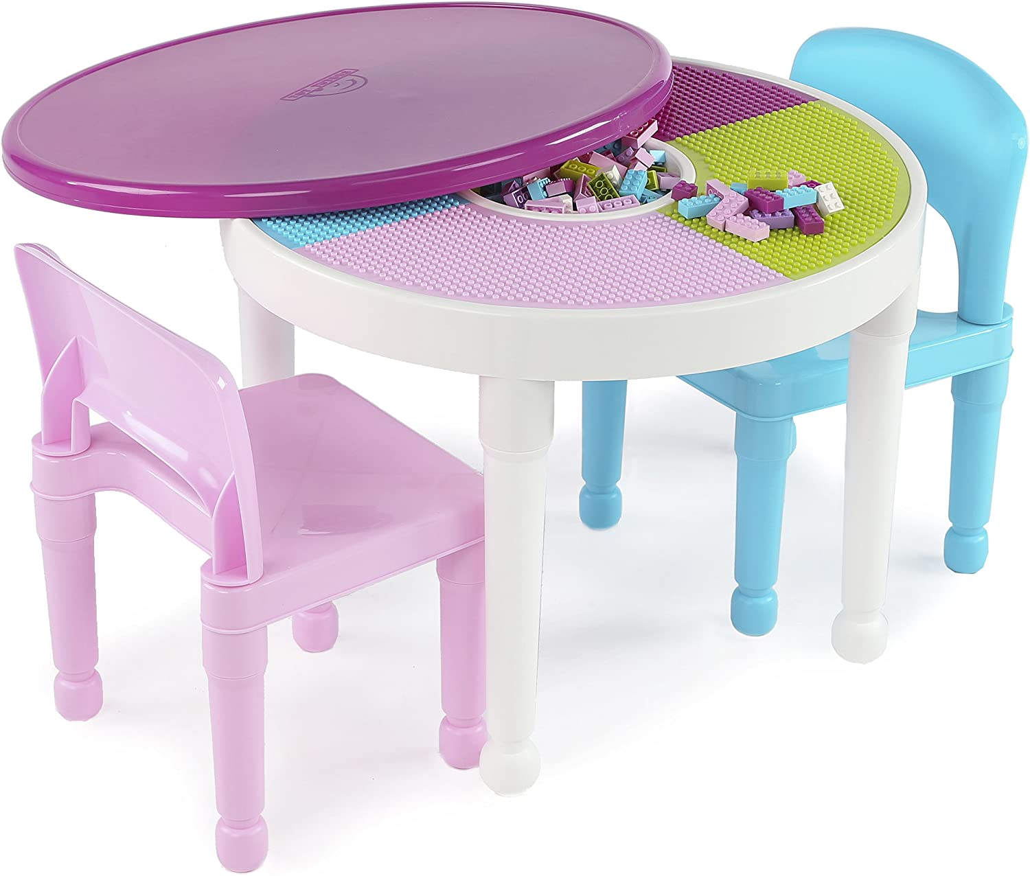 Tot Tutors Kids 2in1 Plastic Building BlocksCompatible Activity Table and 2 Chairs Set, Round, Pink Light bluee colors