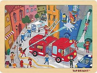 TOP BRIGHT 24 Pièces Puzzles pour Enfant de 3-5 Ans, Jigsaw Puzzle Pompier en Bois avec Cadre pour Garçon et Fille de 4 Ans
