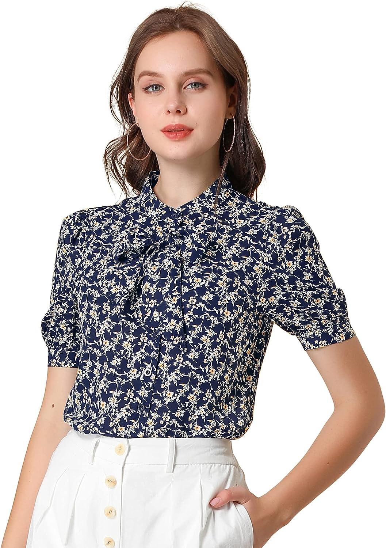 Allegra K Women's Work Bow Tie Button Down Top Short Sleeve Stand Collar Floral Blouse