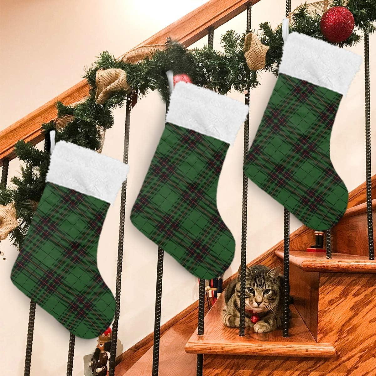 Christmas Stockings Green Buffalo Plaid White Black Max 85% OFF Award-winning store Plush Checks