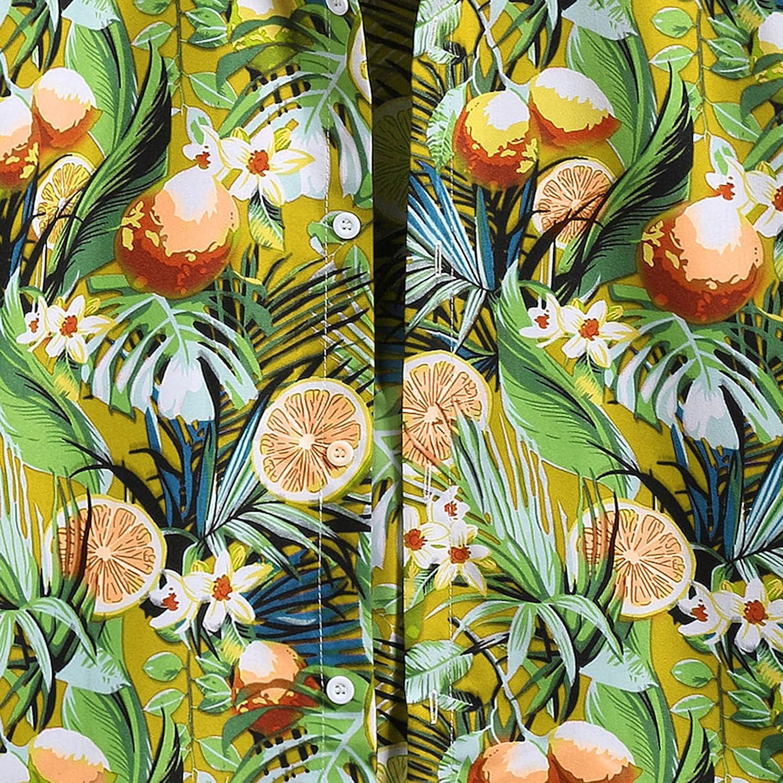 FUNEY Big and Tall Hawaiian Shirts for Men Short Sleeve Button Down Funky Hawaiian Shirt Hawaiian-Print Leaves Flowers Tshirt