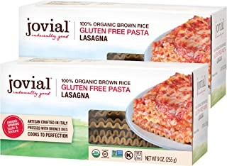 Jovial Lasagna Gluten-Free Pasta | Whole Grain Brown Rice Lasagna Pasta | Non-GMO | Lower Carb | Kosher | USDA Certified O...