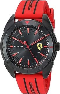 Ferrari Men's Forza Quartz Black IP and Silicone Strap Casual Watch, Color: Red (Model: 830544)