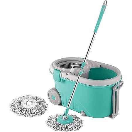 Spotzero by Milton Elegant Spin Mop With Big wheels, Aqua Green, Two Refills