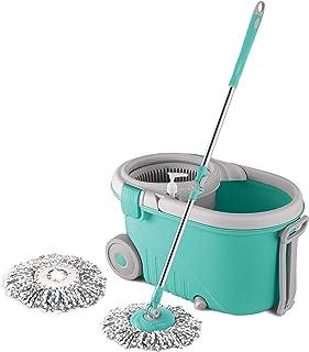 Spotzero by Milton Elegant Spin Mop With Big wheels, (Two Refills), (Aqua Green)
