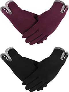 2 Pairs Touch Screen Gloves Women Winter Gloves Thicken Warm Lined Windproof Gloves