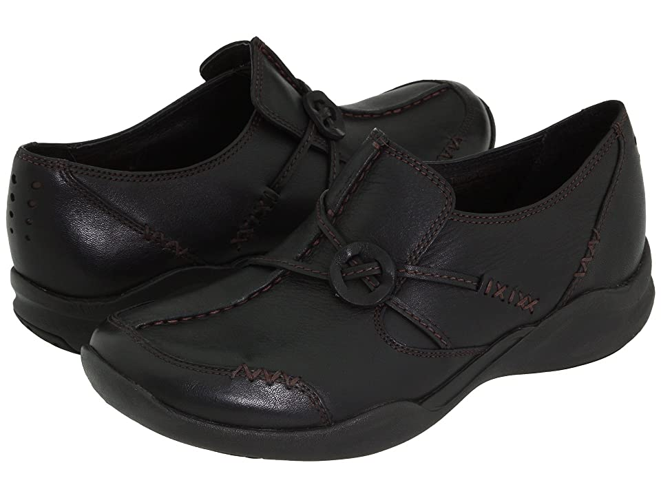 Clarks Wave.Run (Black Leather) Women's  Shoes