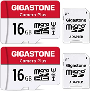 Gigastone Micro SD Card 16GB マイクロSDカード フルHD 2個セット SDアダプタ付 ミニ収納ケース付 w/adapter and case SDHC U1 C10 85MB/S 高速 micro sd カード U...