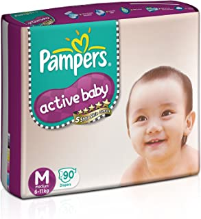 Pampers Active Baby Diapers, Medium (90 Count)