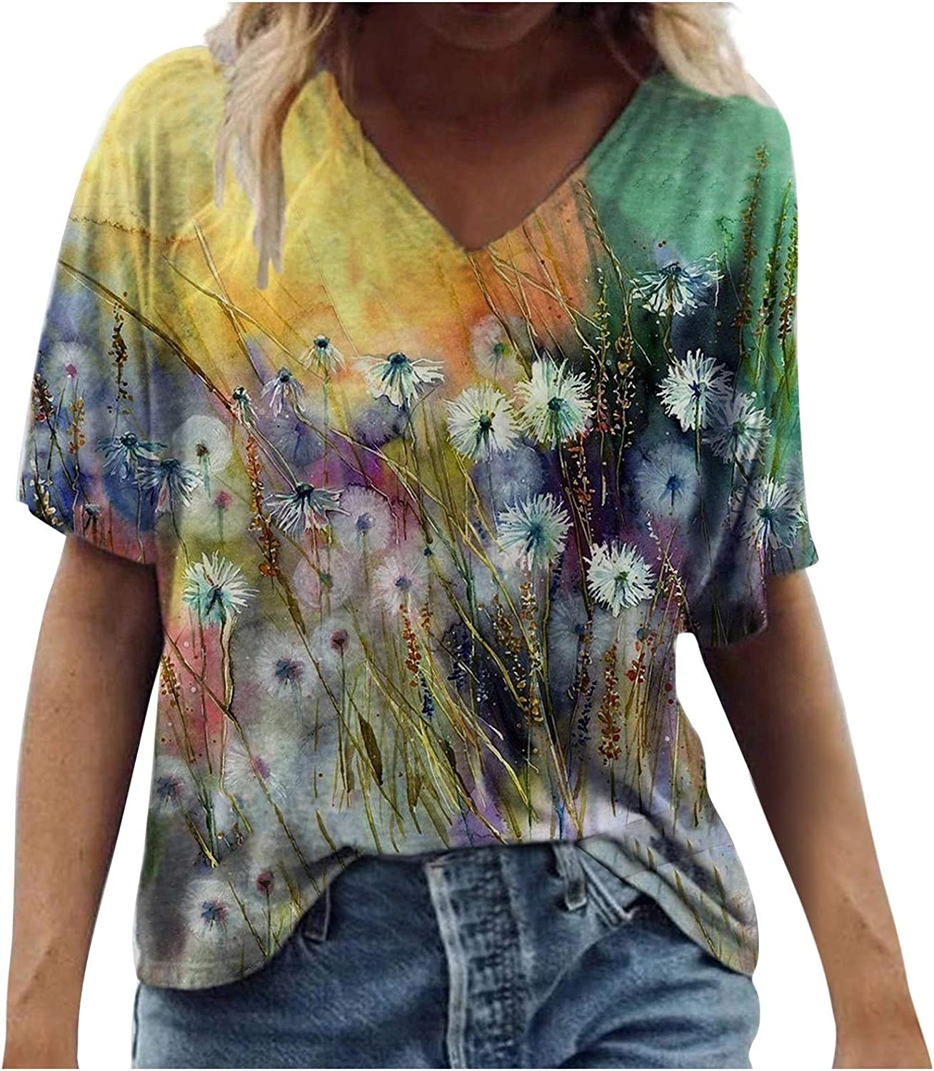 Women's Short Sleeve Tops Indefinitely Cheap sale Summer Flor Tunic Neck V Colorful