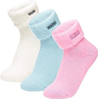 Homealexa, 3 Pares Calcetines Térmicos Cálidos para Mujeres y Hombres, Calcetines de Invierno de Punto con Interior de Felpa, Calcetines de Invierno Gruesos y Suaves