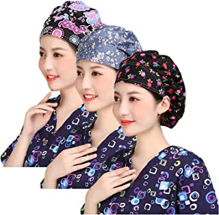 3pc Women's Adjustable Scrub Cap Sweatband Bouffant Hats Value Set