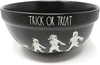 Rae Dunn By Magenta TRICK OR TREAT Black Ceramic Mummy Icon LL Serving Mixing Bowl 2019 Limited Edition